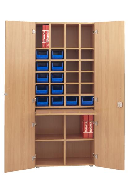MK03 medicijnkast 80x38x200 cm voorzien van slot inclusief rijboring steldoppen melamine 270 graden draaiende scharnieren voorraadbakjes apart verkrijgbaar