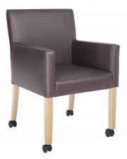 Vincent 3A wielen stoel armstoel massief beuken frame gesingelde zitting vast zitkussen optioneel met klapkussen