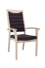 Ilse 3AH zorgstoel gestoffeerd geschroefde verbindingen gescheiden hoge rug en gesingelde zitting ergonomische armleggers stapelbaar optioneel handgreep en wielen