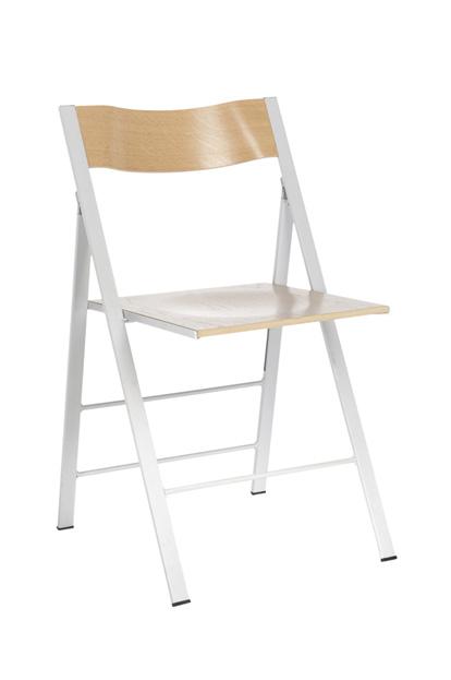 Pocket 2 klapstoel blank beuken rug en zit stalen frame glad of mat optioneel kunststof rug en zit bijbehorend ophangbeugel leverbaar